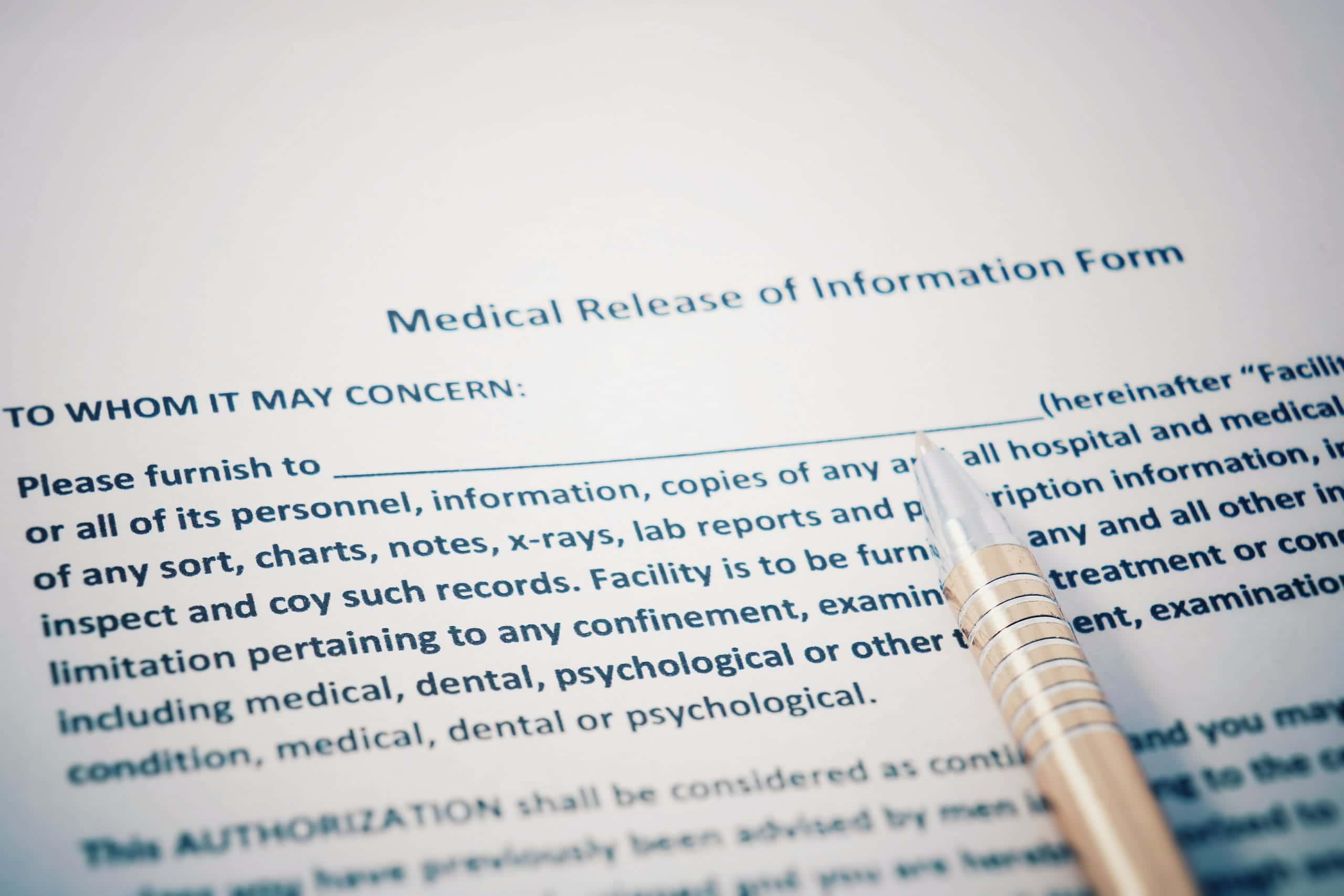 Release form for medical records